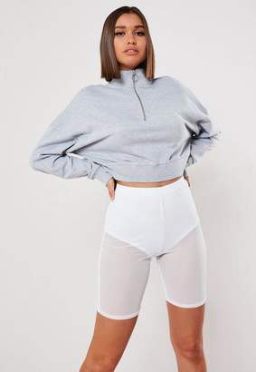 Missguided White Mesh Cycling Shorts