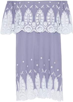 Miguelina Agnes Off-the-shoulder Lace-paneled Embroidered Cotton Mini Dress