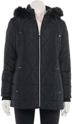 Details Women's Faux-Fur Hood Quilted Jacket