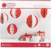 Martha Stewart M4830422 Honeycomb Balls 5/pkg-red & White