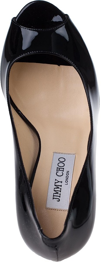 Jimmy Choo Crown Platform Pump Black Patent Leather