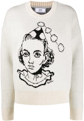 Ami Face Jacquard Knitted Jumper