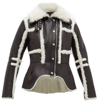 Alexander McQueen Waterfall Shearling Jacket - Black