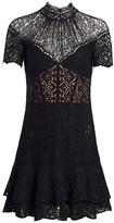 Jonathan Simkhai Multimedia Corded Lace Mini Ruffle A-Line Dress