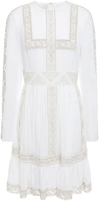 Valentino Bead-embellished Tulle And Cotton-mousseline Mini Dress