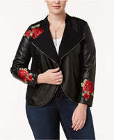 INC International Concepts Plus Size Embroidered Mixed-Media Jacket, Created for Macy's