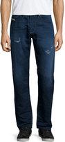 Diesel Buster Distressed Cotton-Linen Jeans, Denim