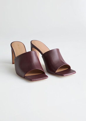 And other stories Heeled Leather Square Toe Sandals