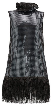 Halpern Fringed Sequinned Mini Dress - Grey