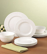 Lenox Opal Innocence Carved Scroll Porcelain 12-Piece China Set