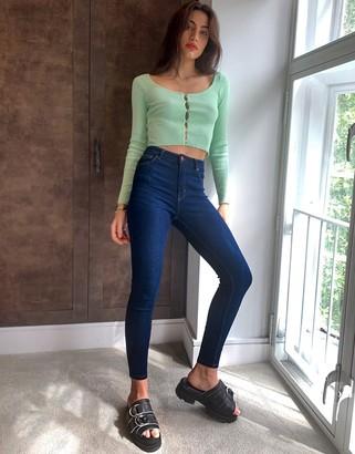 Bershka skinny high waist in dark blue