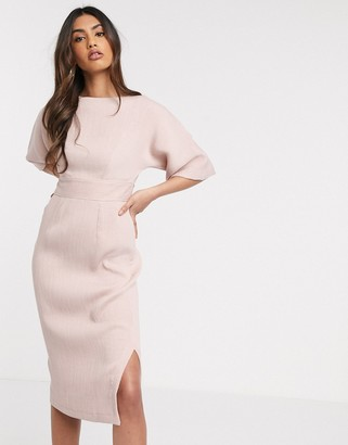 Closet London kimono sleeve midi dress in blush