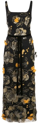 Marchesa Embroidered Floral Midi Dress