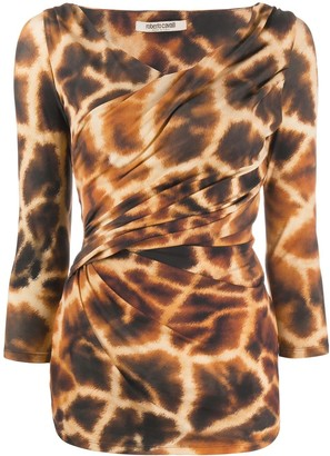 Roberto Cavalli Giraffe-Print Top