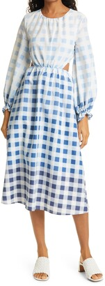 STAUD Blanche Ombre Gingham Long Sleeve Dress