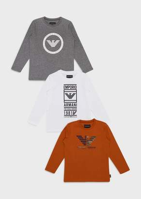 Emporio Armani Pack Of 3 Logoed Sweaters
