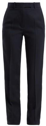 Calvin Klein Side Stripe Straight Leg Wool Trousers - Womens - Navy