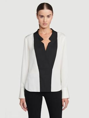 Frame Silk Notch Collar Top