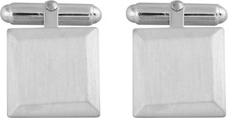 Edge Only Bevelled Square Cufflinks In Silver | Brushed Matte Finish Chamfered Edge Square Cufflinks