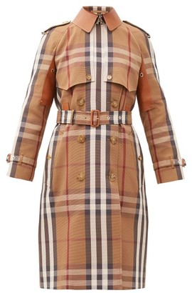 Burberry Leather-panel Vintage-check Canvas Trench Coat - Brown Multi
