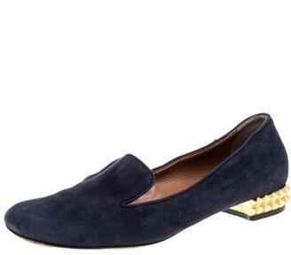 Fendi Navy Blue Suede Studded Heel Smoking Slippers Size 38