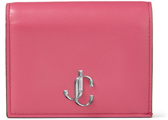 Jimmy Choo HANNE Bubblegum-Pink Smooth Calf Leather Wallet with JC Emblem
