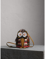 Burberry The Owl - Calf Suede and Snakeskin Crossbody Bag, Orange