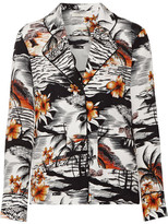 Maje Chat Printed Crepe Shirt - Orange