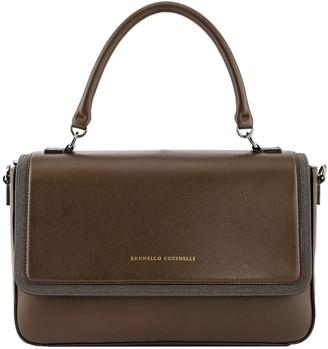 Brunello Cucinelli Shoulder Bag Polished Calfskin Bag With Precious Contour