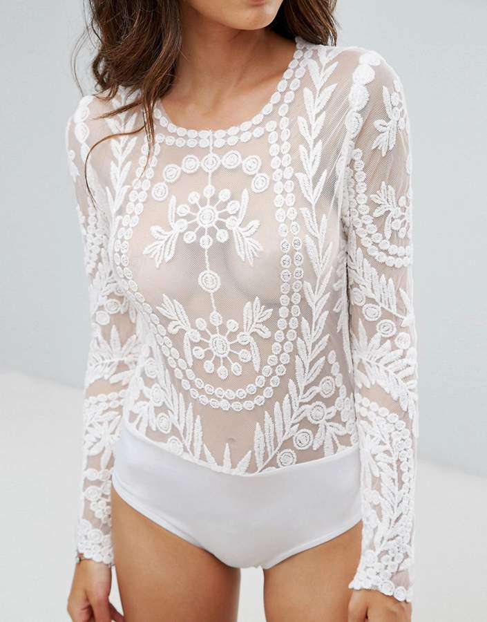 Club L Embroidery Detailed Bodysuit