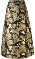 Saint Laurent floral embroidered skirt - women - Silk/Polyester/Wool - 36