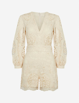 Maje Ilou embroidered woven playsuit