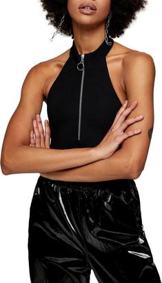 Topshop Front Zip Halter Bodysuit