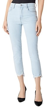 J Brand Ruby High-Rise Cropped Cigarette Jeans in Surf Destruct