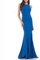 Carmen Marc Valvo Sleeveless Illusion Mesh Back Gown