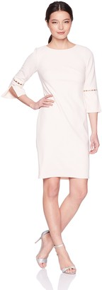 Calvin Klein Women's Petite Solid Sheath with Detailed Split Sleeve Dress