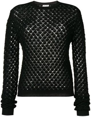 Saint Laurent glittery crochet jumper