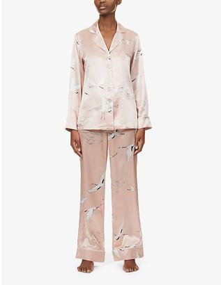 Olivia von Halle Lila bird-print silk-satin pyjamas