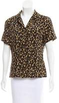 Halston Leopard Print Button-Up Top