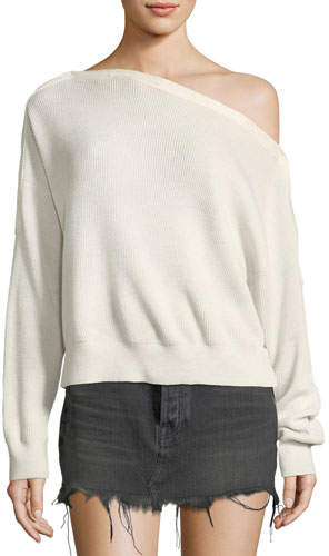 Alexander Wang One-Shoulder Rib-Knit Pullover Sweater with Snap Details