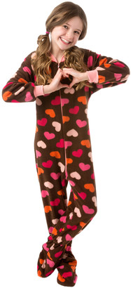 Big Feet Pjs Girls' Footies Brown - Brown Heart Fleece Footed Pajamas - Infant, Toddler & Girls