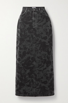 Balenciaga Floral-print Denim Midi Skirt - Black