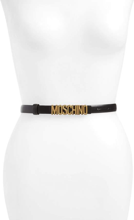 Moschino Logo Calfskin Leather Skinny Belt