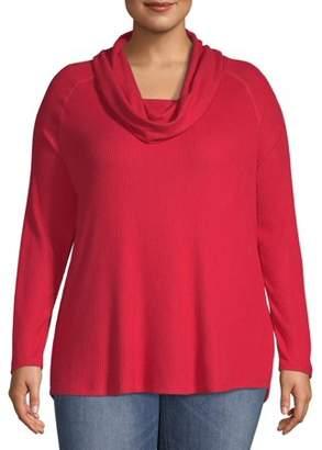 Terra & Sky Women's Plus Size Cowl Neck Ribbed Top