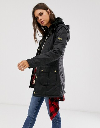 Barbour International kirk longline wax jacket with detachable faux fur collar-Black