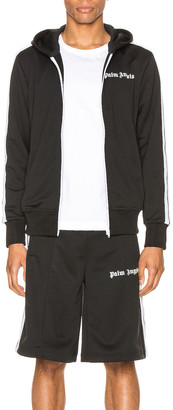 Palm Angels Hooded Track Jacket in Black & White | FWRD