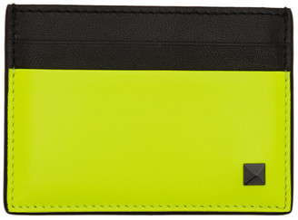 Valentino Yellow Garavani Rockstud Card Holder