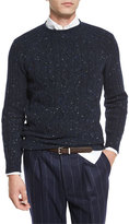 Brunello Cucinelli Cable-Knit Donegal Sweater, Navy