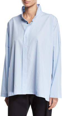 eskandar Wide Mini-Gingham Button-Front Shirt
