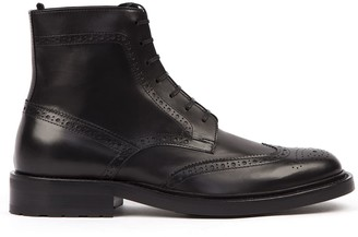 Saint Laurent Black Leather Laced Ankle Boot